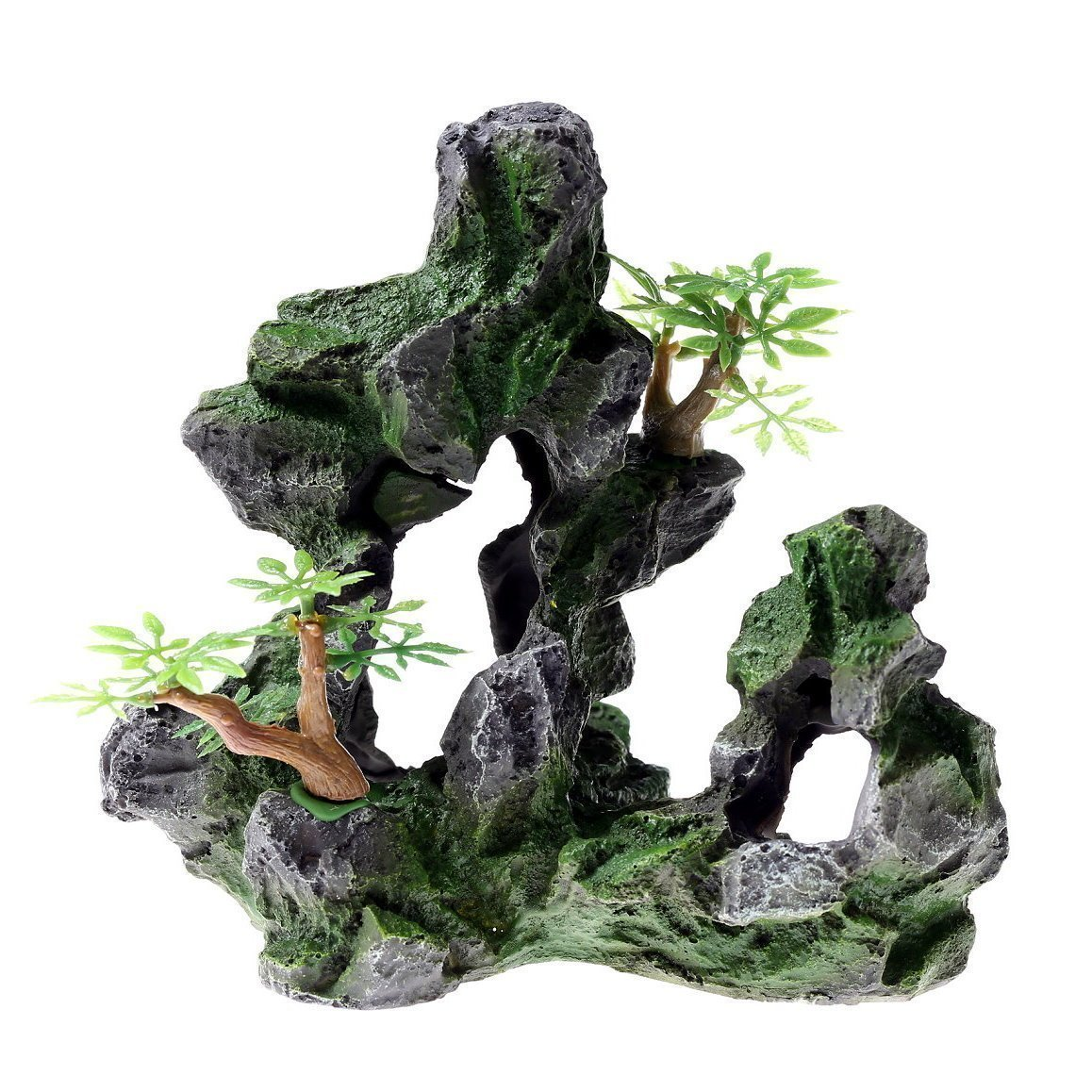 Rock cave 17 x 10 x 16 cm acquario decorazione ornamento Fish Tank pietra mountain View in resina