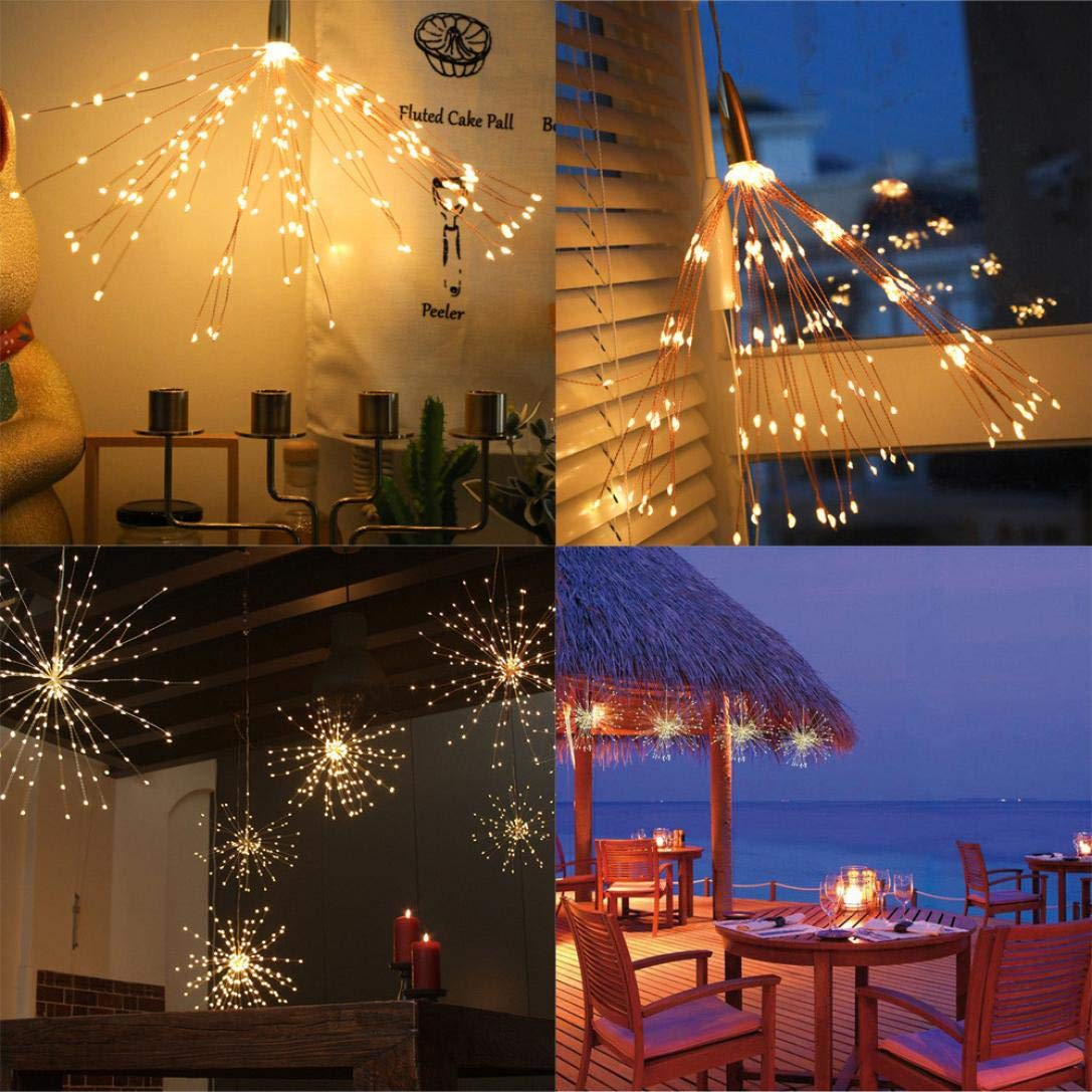 H+K+L Fireworks Lamp String Decoration Battery Operate Copper Wire Light String Outdoor Courtyard Lighting (Multicolor)