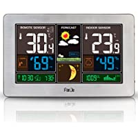Wecker Funk Wetterstation Thermometer Hygrometer Barometer Außensensor Uhr DE