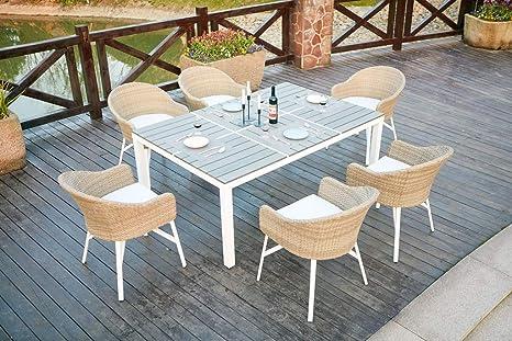 Lynco mesa extensible de aluminio/madera sintética 90/180 + ...