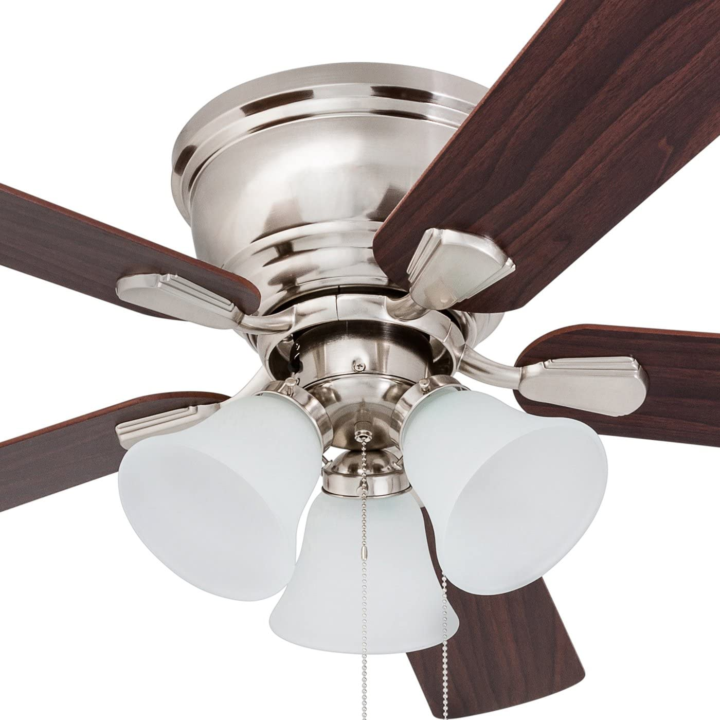 Prominence Home 80032-01 Saddle Ridge Low-Profile Hugger Ceiling Fan, LED 3-Light, Chocolate Maple Walnut Blades, 46 inches, Brushed Nickel