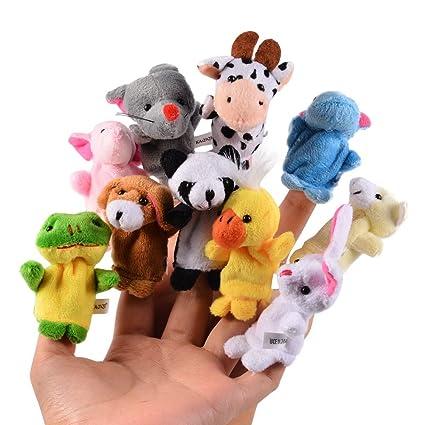 amazon com acekid 10pcs soft plush animal finger puppets set baby