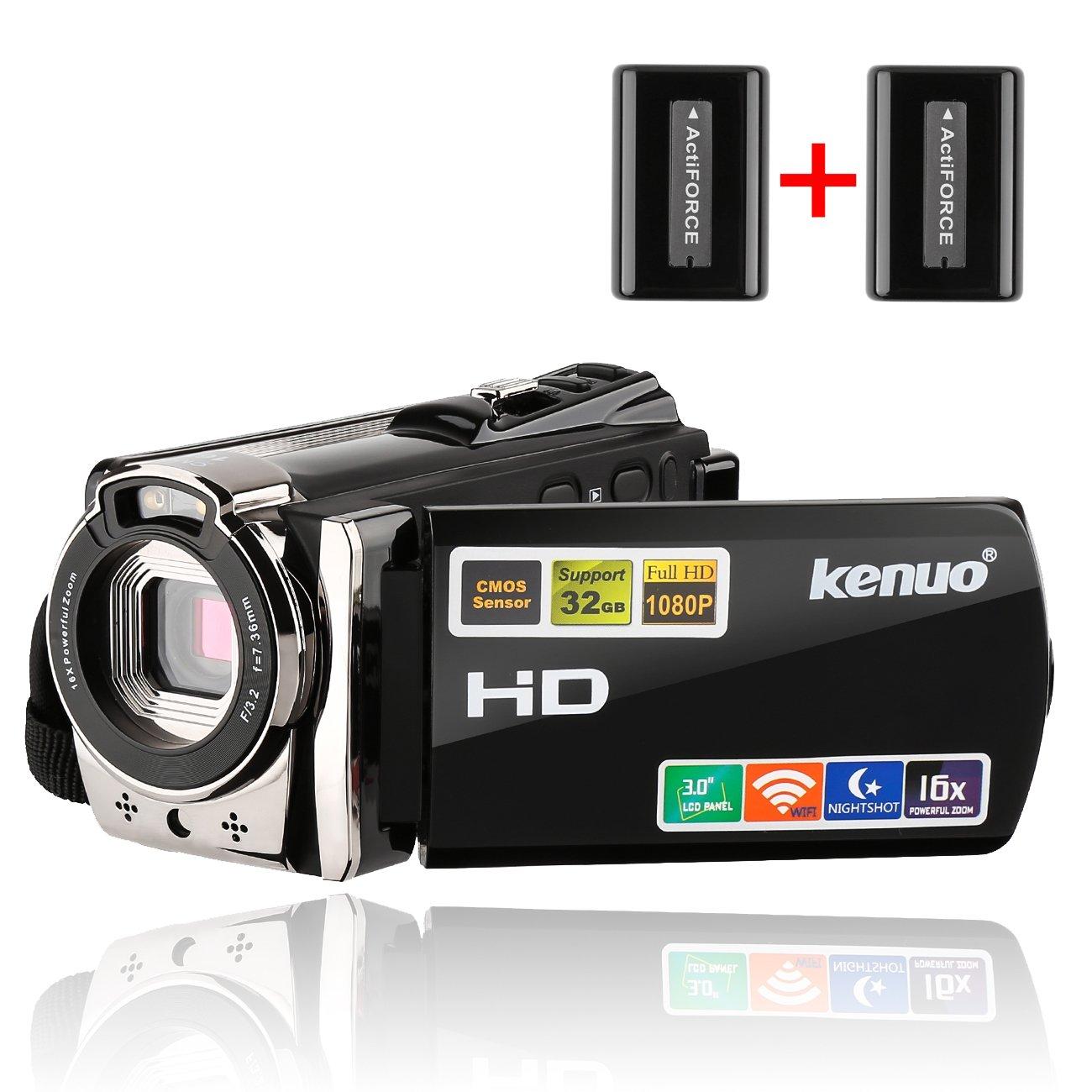 Camcorders,Kenuo 1080P 24MP HD WiFi Digital video Camera, 3.0''TFT LCD IR Night Vision 16X Digital Zoom Stabilization 270 Degree Rotation Screen Camera Bag Lithium Battery