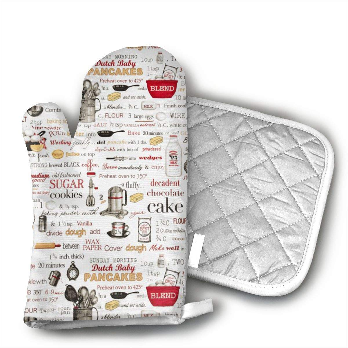 The Cook Recipes Oven Mitts and Pot Holders Set with Polyester Cotton Non-Slip Grip, Heat Resistant, Oven Gloves for BBQ Cooking Baking, Grilling