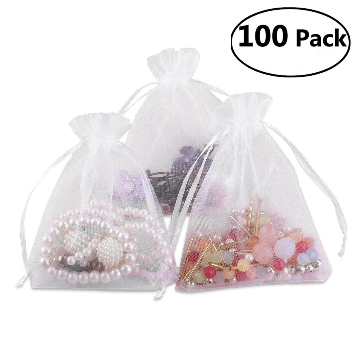 Foxnovo 100 Pack 9x12cm Organza Drawstring Gift Bags, Wedding Favor Bags (White)