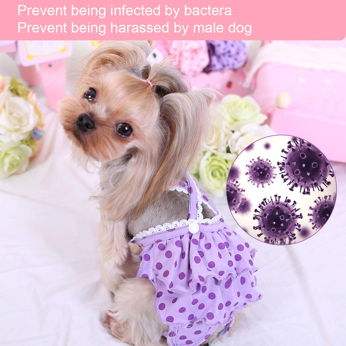 Makerfire Dog Sanitary Pants Female Dog Diapers Washable Reusable Puppy Nappies S 2Pack