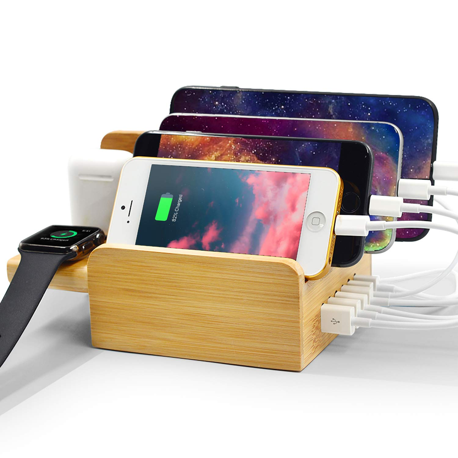 Charging Station, WXTOOLS 6-Port Bamboo Organizer Wood USB Charger Station Desk Dock Holder Stand Accessories for Multiple Devices, Compatible with Watch/Airpods/Phone/Tablet by WXTOOLS