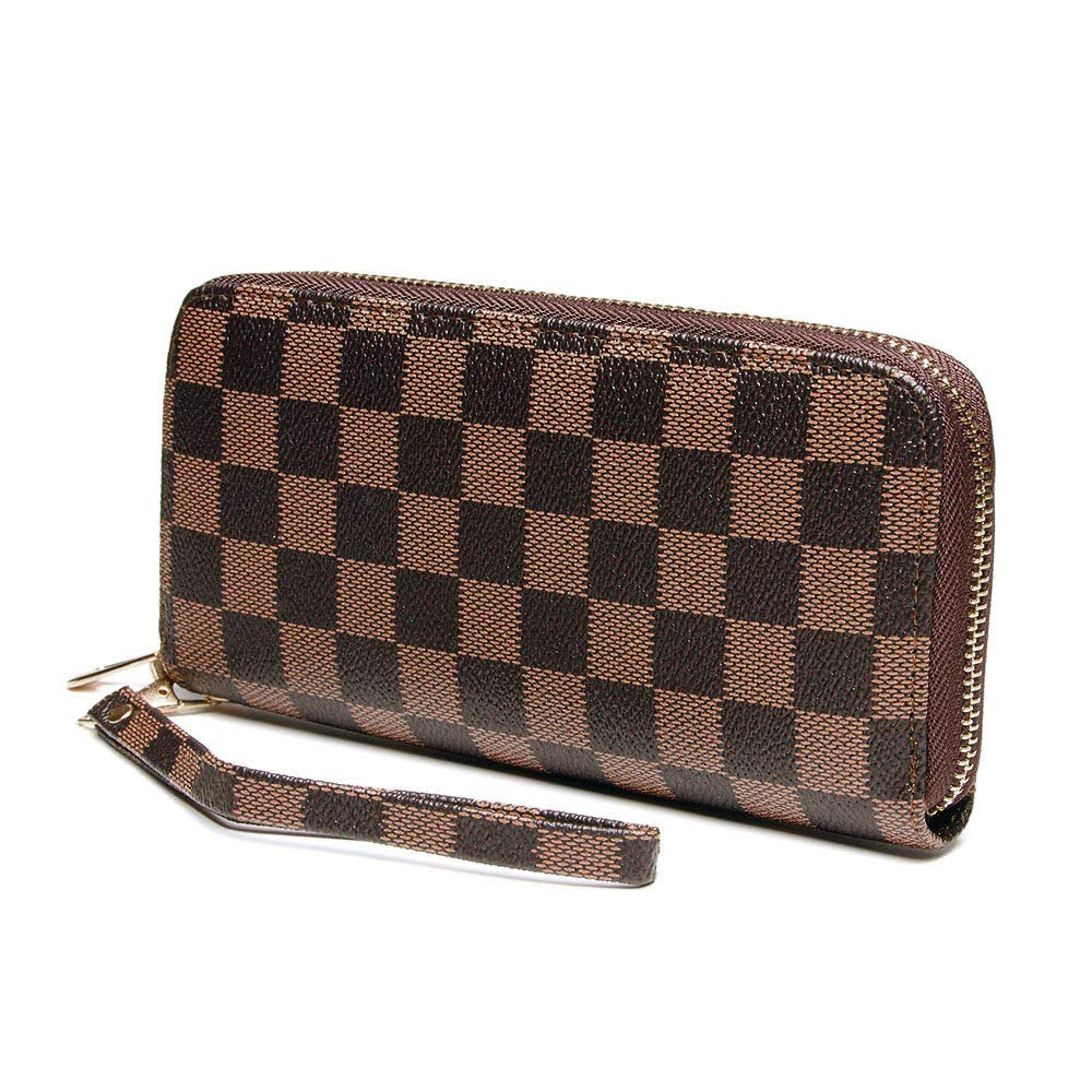 Wristlet Wallets for Women Long Womens Wallet Leather Clutch RFID Blocking with Zip Around Card Holder Organizer (Brown(1 Zipper)) by ANT EXPEDITION (Image #1)