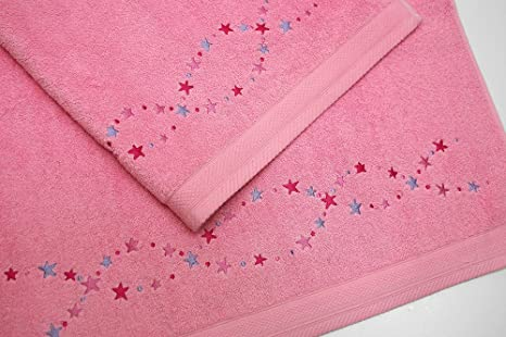 Juego de Toallas Bordadas Estrellas 2 piezas 550gr STARS 2P. Nº15 (Rosa)