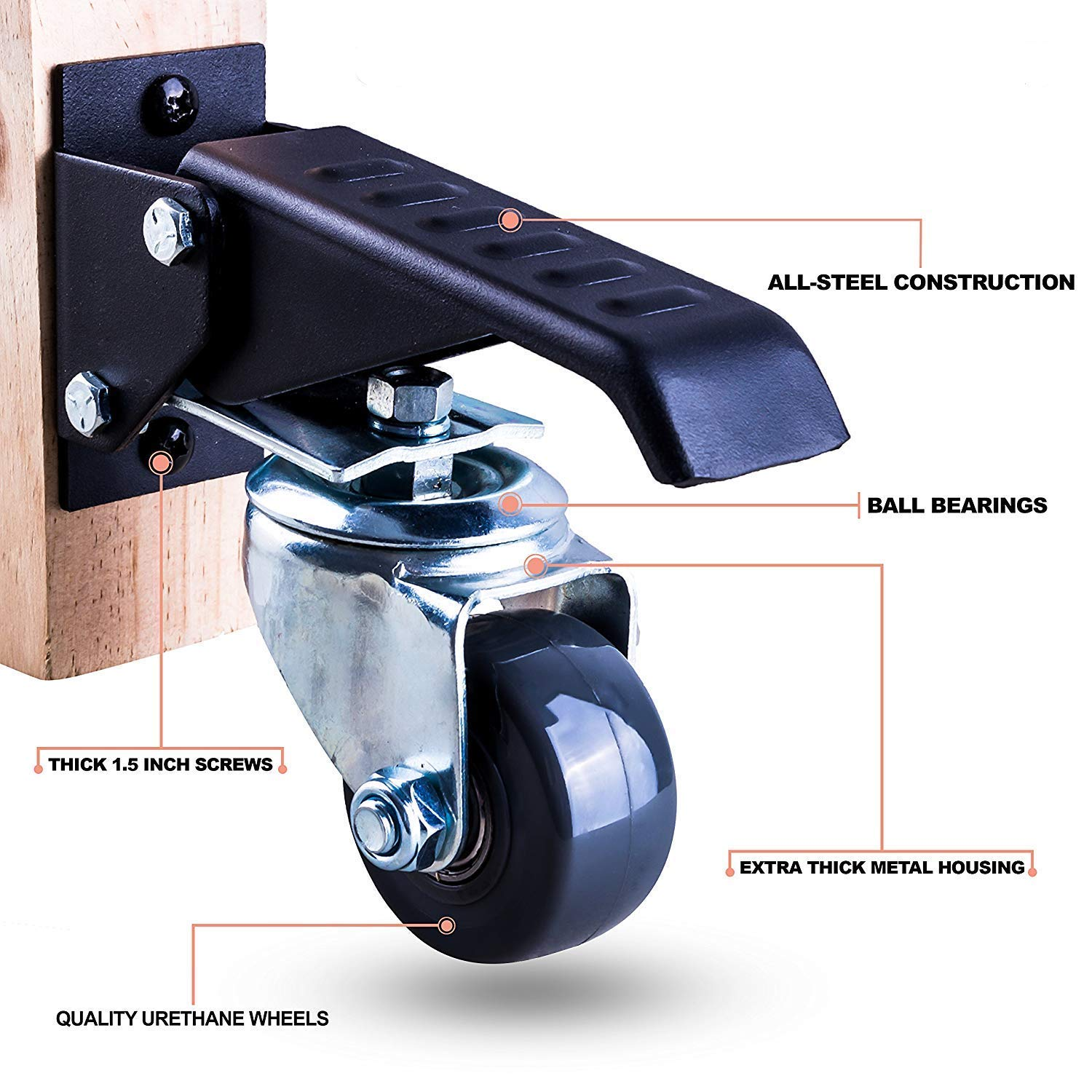 Workbench Caster kit - 4 Extra Heavy Duty Retractable casters, 800 lbs Weight Capacity, Urethane Wheels by Whistler (Image #1)