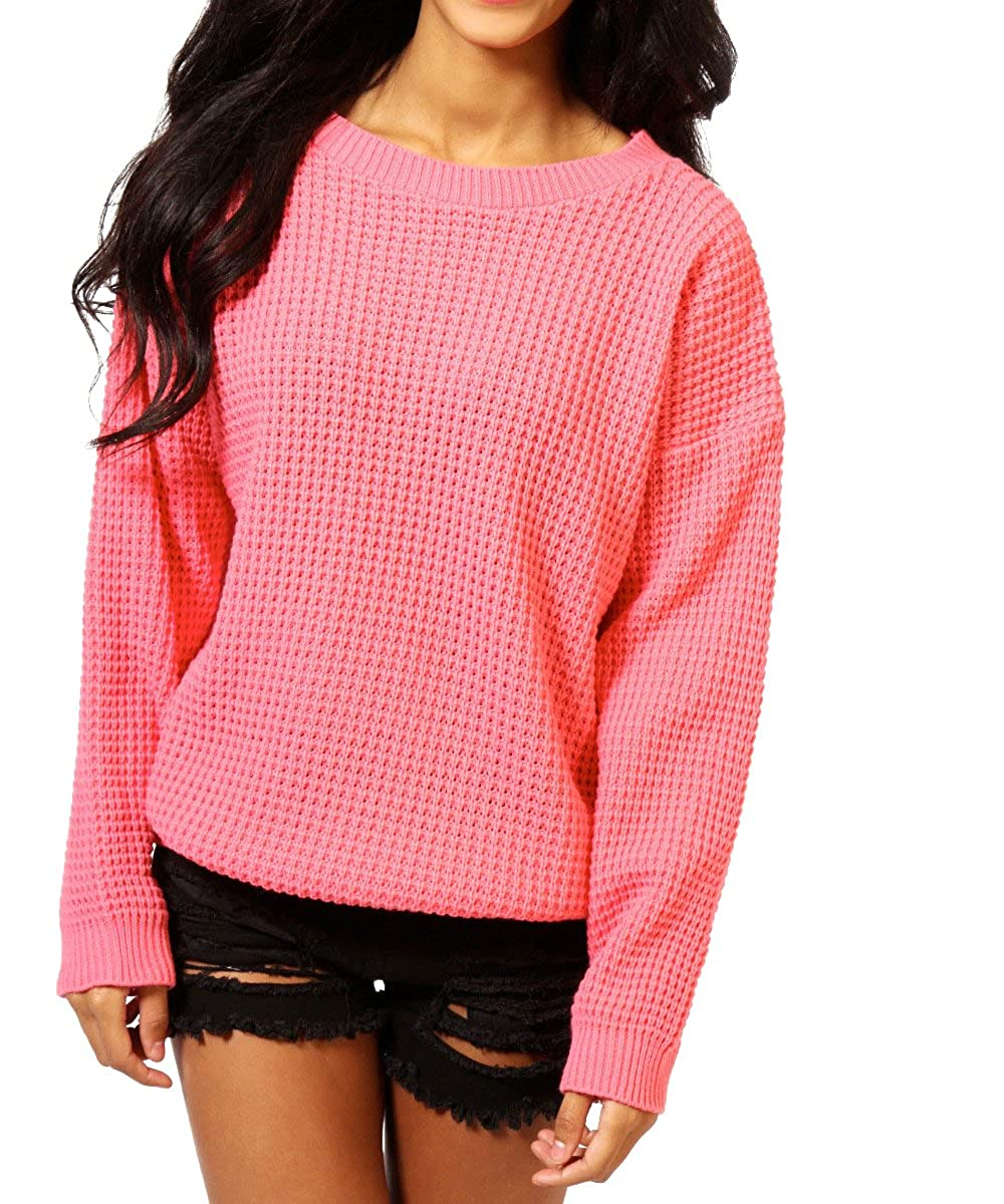 Blush Avenue Ladies Oversized Baggy Thick Knitted Plain Chunky Jumper
