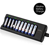 EBL AA AAA Alkaline Battery Charger, 10 Slots Battery Charger for Alkaline AA AAA Batteries (Batteries Not Included)