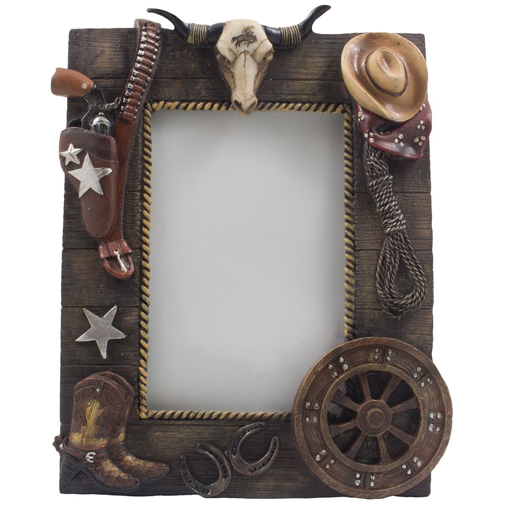 Western Picture Frame Cowboy Texas Longhorn Boots Hat Pistol ...