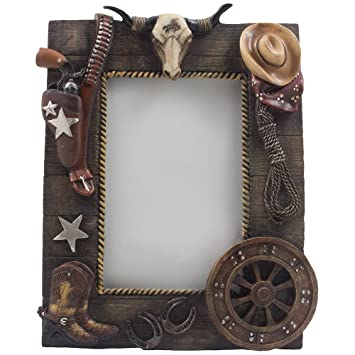 Decorative Wild West Desktop Photo Frame With Texas Longhorn Skull Cowboy Boots And Hat