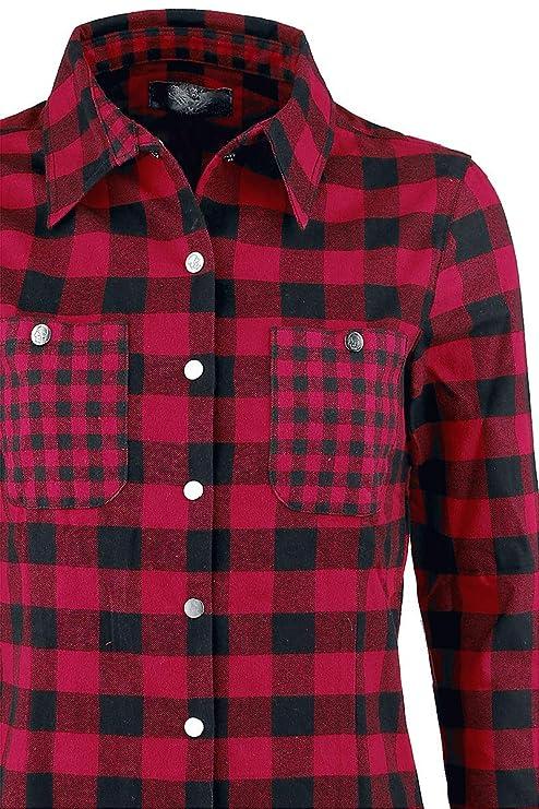 Rock Rebel by EMP Checkered Skull Application Shirt Chemise Femme Rouge Noir  L  Amazon.fr  Vêtements et accessoires c1f008782b9e