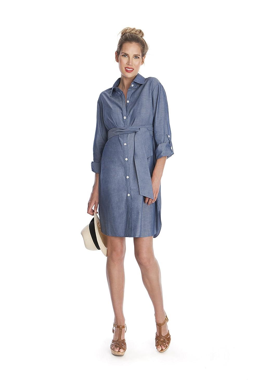 Seraphine Chambray Belted Maternity Shirt Dress At Amazon Womens