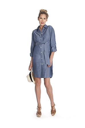 8891b3f5997 Seraphine Chambray Belted Maternity Shirt Dress at Amazon Women s ...