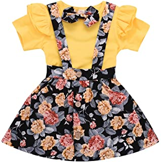 4b922e43e8 Toddler Girls Outfits 2pcs Baby Romper Clothes Set Girl Floral  Jumpsuit+Strap Skirt Outfits