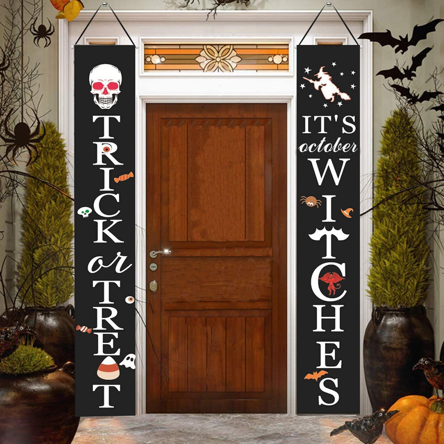 Choies Halloween Decorations Outdoor Decor,It's Witches & Trick or Treat Decorations Sign Outdoor Hanging Sign for Front Door or Indoor Home Decor Halloween Decor Large Banner