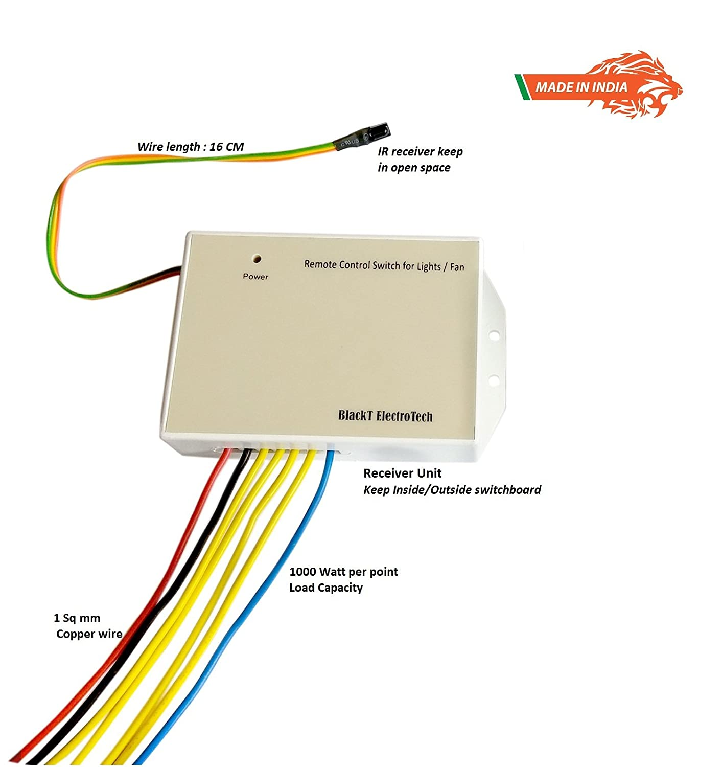 Blackt Electrotech Bt 20dd Wireless Remote Control Switch System Wiring Diagram With Speed Regulation For 4 Lights And 1 Fan White Copper Home Improvement