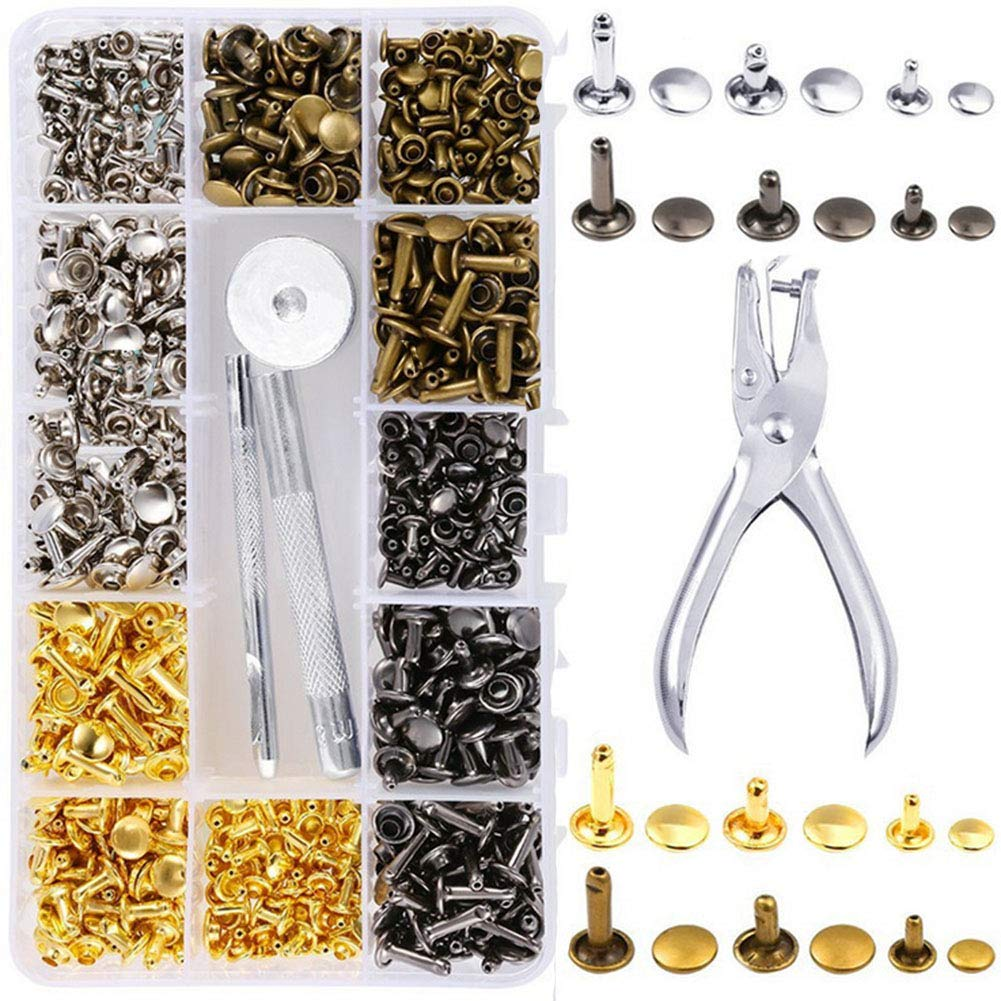 120PCs//Set Rivets Single Cap Rivets Tubular Metal Studs Fixing Tools Kit Leather