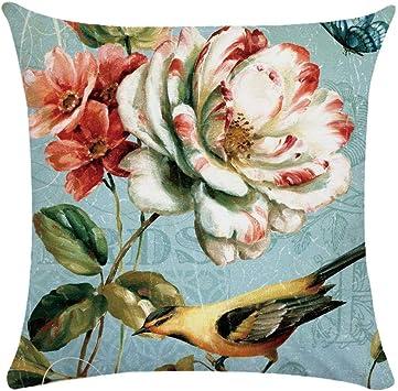 Image ofCaogsh - 2 fundas de almohada de felpa corta para cojín lumbar, sofá, almohada, almohada retro con diseño de pájaros y flores, algodón mixto, Zt002746, 50x50cm(Double-sided printing)