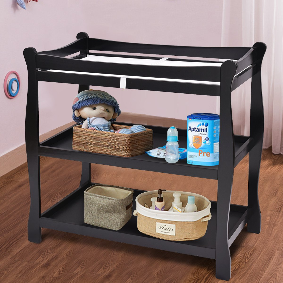 Newborn Nursery Station with Pad Infant Diaper Changing Table Organization Espresso Costzon Baby Changing Table Sleigh Style Nursery Dresser Changing Table with Hamper// 2 Fixed Shelves