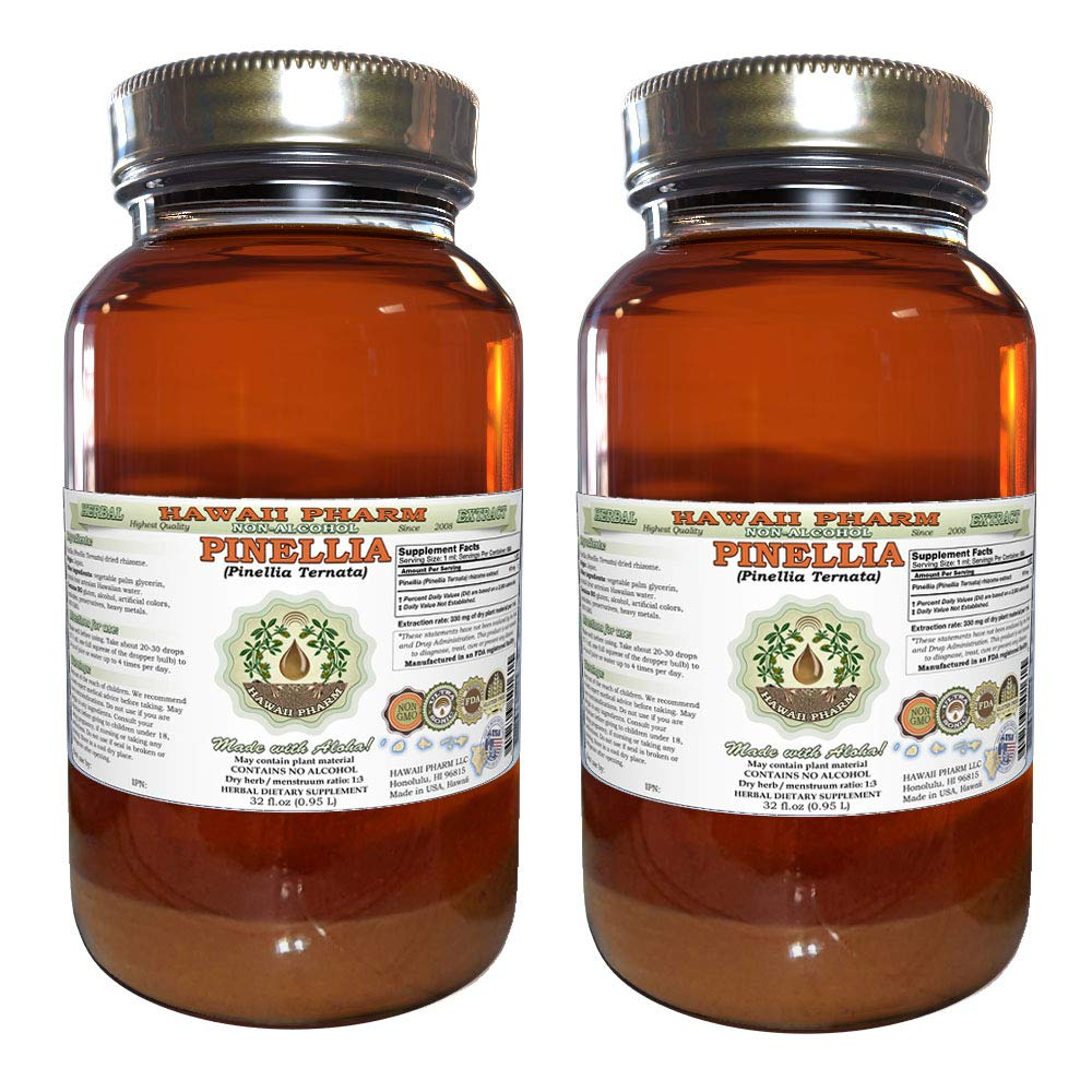 Pinellia, Zhi Ban Xia (Pinellia Ternata) Tincture, Dried Rhizome Liquid Extract, Pinellia, Glycerite Herbal Supplement 2x32 oz