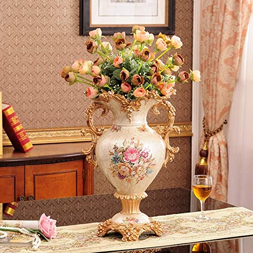 ZR-DECOR European-Style Retro Resin Large Flower Vases for Living Dining Room Table Centerpiece Bedroom Office Hotel Home Decoration Hand-Painted Tall Decorative Vase, 31cm 46cm