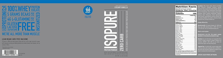 Isopure Zero Carb, Keto Friendly Protein Powder, 100 Whey Protein Isolate, Flavor Creamy Vanilla, 4.5 Pounds