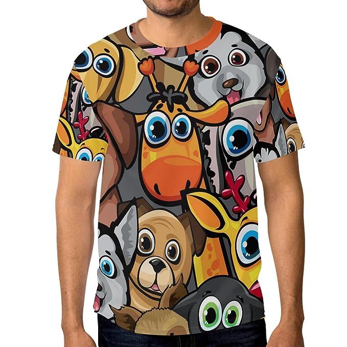 ffbb88926 DEYYA Men's Animal Dogs Cat Deer Giraffe Graphic Short-Sleeve Crewneck  T-Shirts,