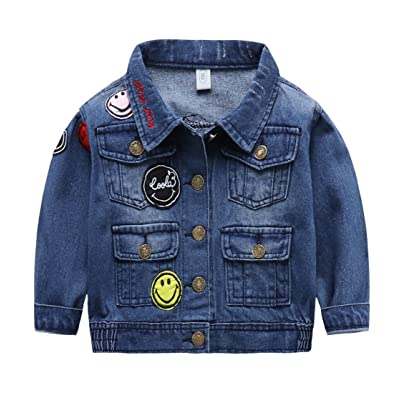7b5cdd5e7 Baby Boy Denim Jacket With Patchwork Embroidery,Toddler Ripped Denim Coat