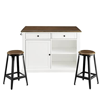 dorel living kelsey kitchen island with 2 stools white - Kitchen Island With Stools