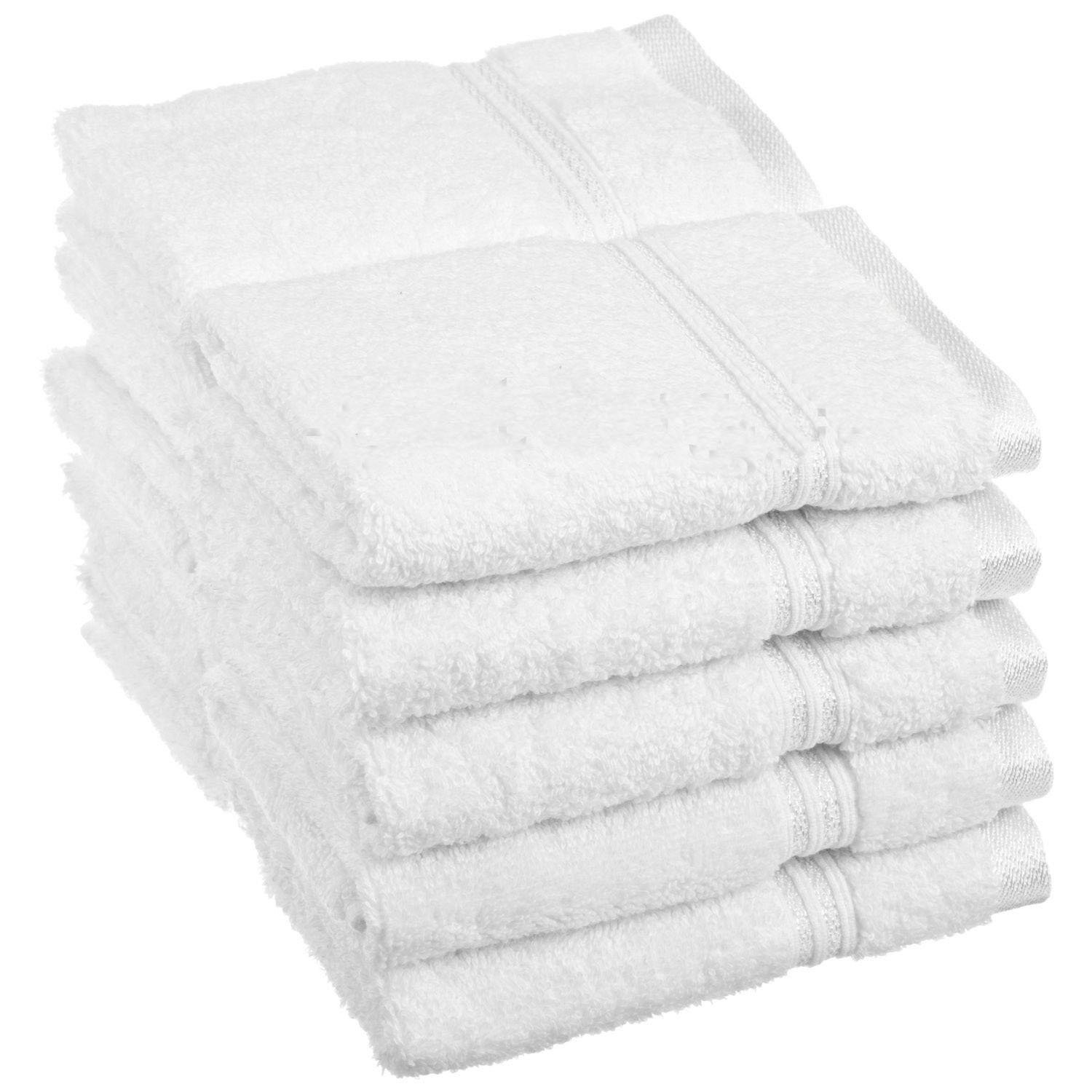 100% Egyptian Cotton Superior 10pc Wash Cloth Set White Towels & Washcloths0