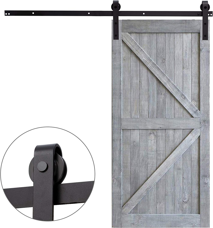 Fittyz 8FT 244cm Herraje para Puertas Correderas Kit para Puerta Corredera Granero con Capacidad de 100kg Riel para Puerta Corredera Granero (8FT 244cm)