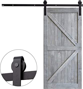 Sfeomi - Riel para puerta corredera - Sistema de puertas correderas - Juego de guías de desplazamiento para puerta individual de madera - Kit de accesorios de ...