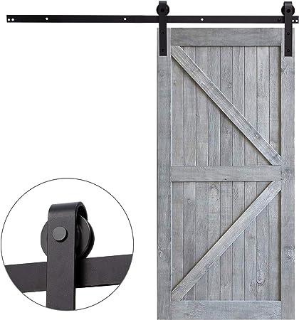 Sfeomi - Riel para puerta corredera - Sistema de puertas correderas - Juego de guías de desplazamiento para puerta individual de madera - Kit de accesorios de deslizamiento estilo rústico: Amazon.es: Bricolaje y herramientas