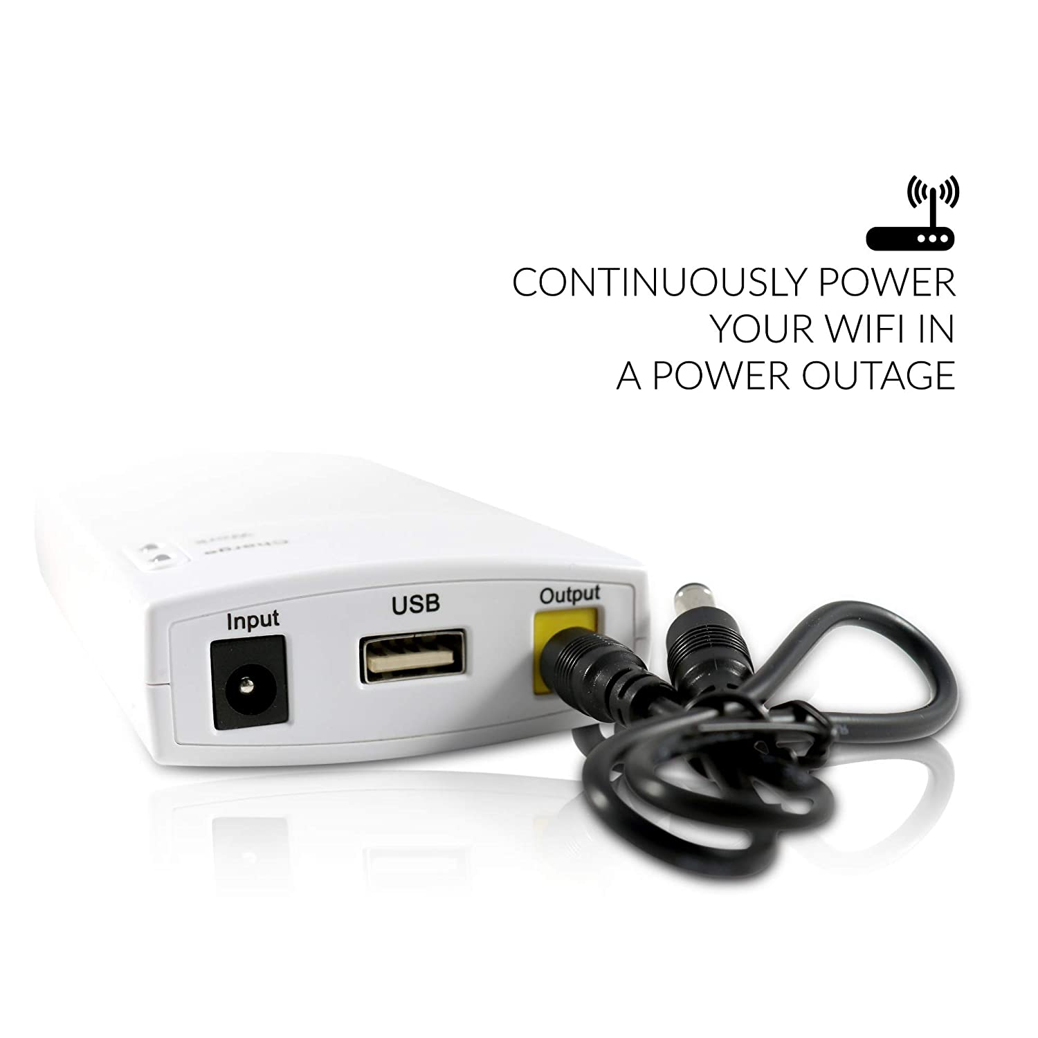 Quick Charge Wi-Fi Router /& DSL//Cable Modem 12V DC Backup Power Source 7800mAh Lithium-Ion Auto-Switching Raspberry Pi and Voice Assistant Compatible Konnected Mini-UPS Battery Backup