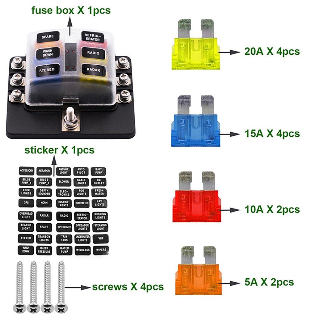 Fansport Fuse Box Fuze Bloc /Étanche 12-32 V 6 Voies 5A 10A 15A 20A Fuses Libre Titulaire avec LED Indicato