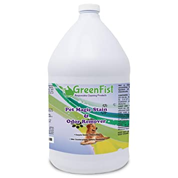 GreenFist Pet Magic Stain & Odor Remover Fast Acting Carpet Cleaner Enzyme-Powered Formula Cats,Dogs Urine and etc. (1 Gallon)
