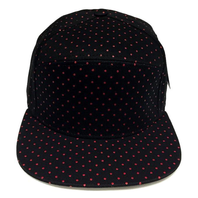 0d3355a54c2 6 Panel Polka Dot Print Pattern Unique Cotton Flat Bill Snapback Cap  Adjustable Baseball Cap Hat