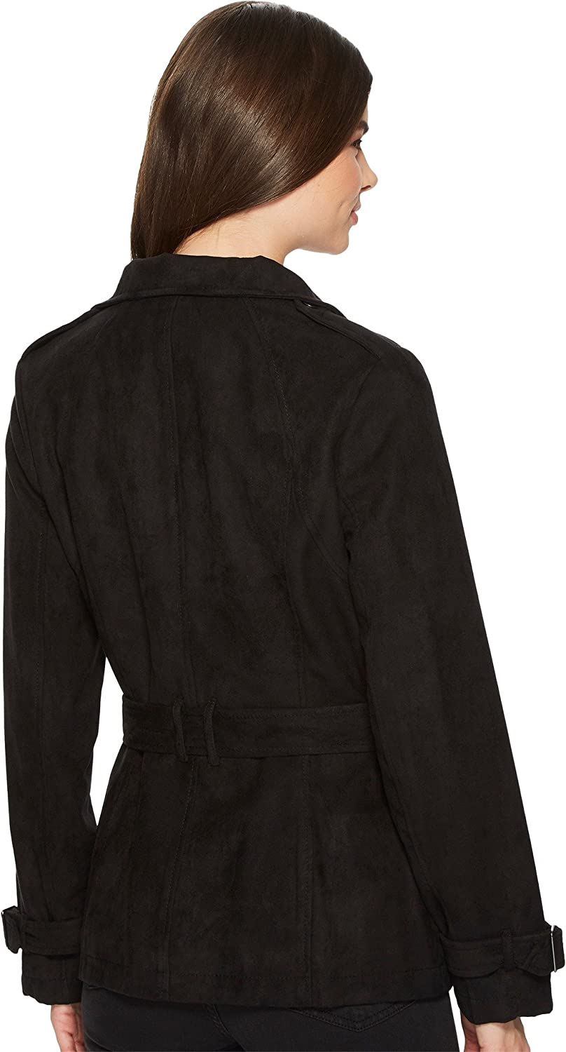 Kenneth Cole New York Womens Faux Suede Moto Trench