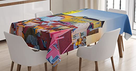 City Love Tablecloth Ambesonne 3 Sizes Rectangular Table Cover Decor