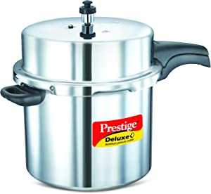 Prestige PRDAPC12 Deluxe Plus 12-Liter New Flat Base Aluminum Pressure Cooker for Gas and Induction Stove, Medium, Silver