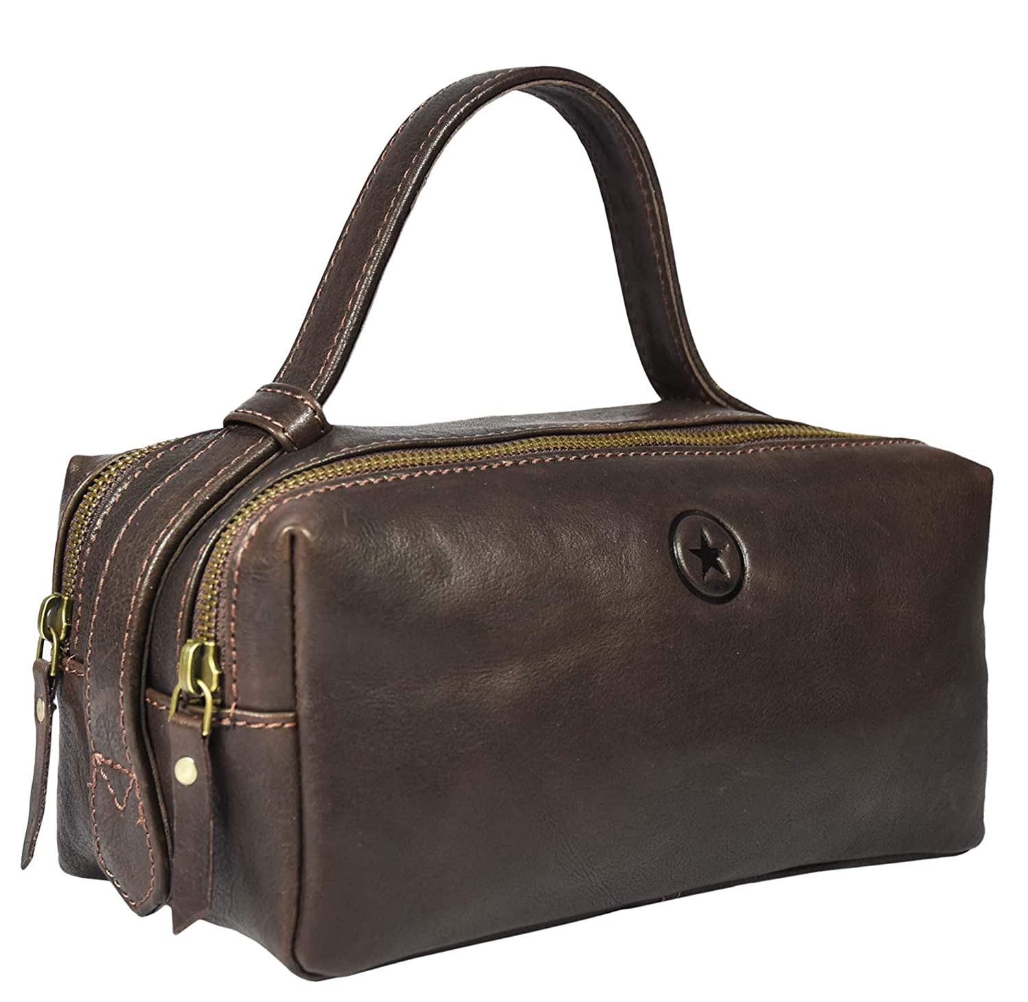 Leather Toiletry Bag for Men Dual Zipper with Handle and 2 Compartment Walnut