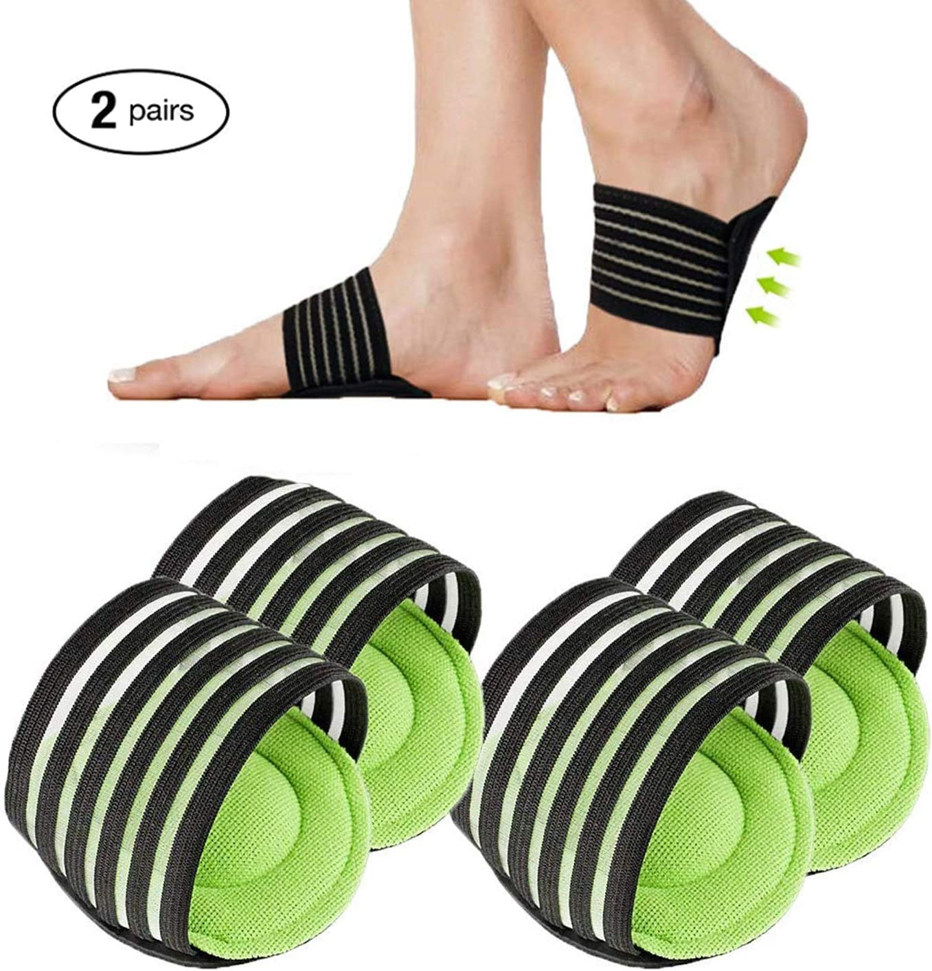Thick Fallen Arches Cushioned Compression Arch Support Sleeves Foot Relief Cushions Brace for Plantar Fasciitis Flat and Achy Feet Problems for Men and Women
