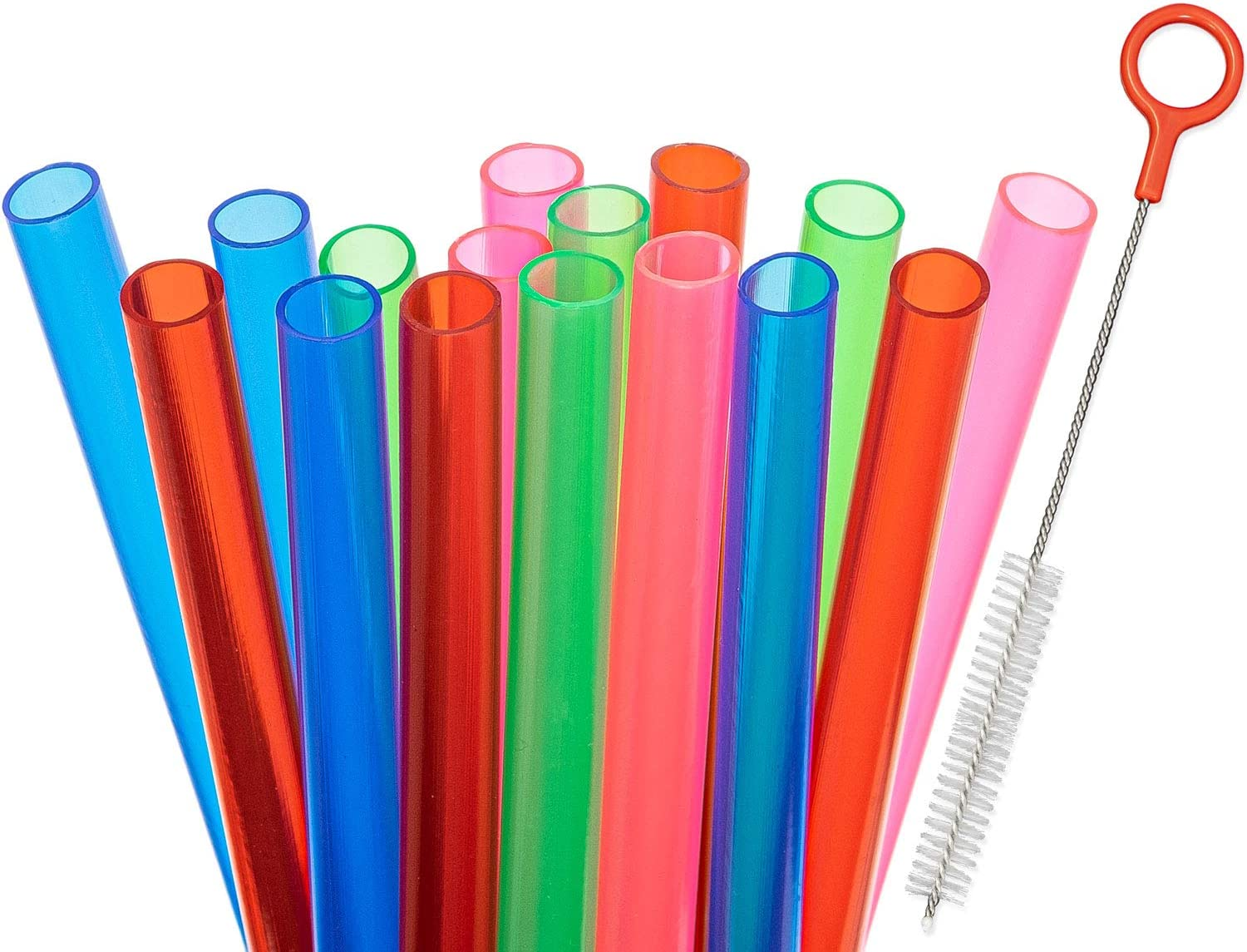 Fiesta First 15 Extra Wide Long Reusable Plastic Straws + Sturdy Cleaning Brush - for Boba/Bubble Tea/Thickest Smoothies - Assorted Colors Value Pack - BPA PFOA Free