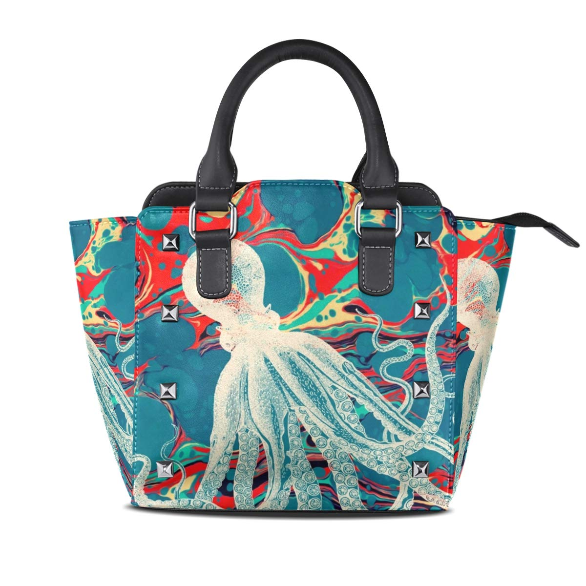 color1 Giant Octopus Women Leather Studded Bags Shoulder Bags Tote Bag Handbags
