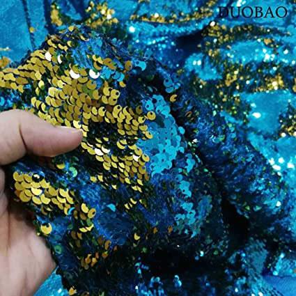 353d13374 DUOBAO Mermaid Reversible 5mm Sequin Fabric Turquoise to Gold Raindrop  Sequin Mesh Fabric by The Yard