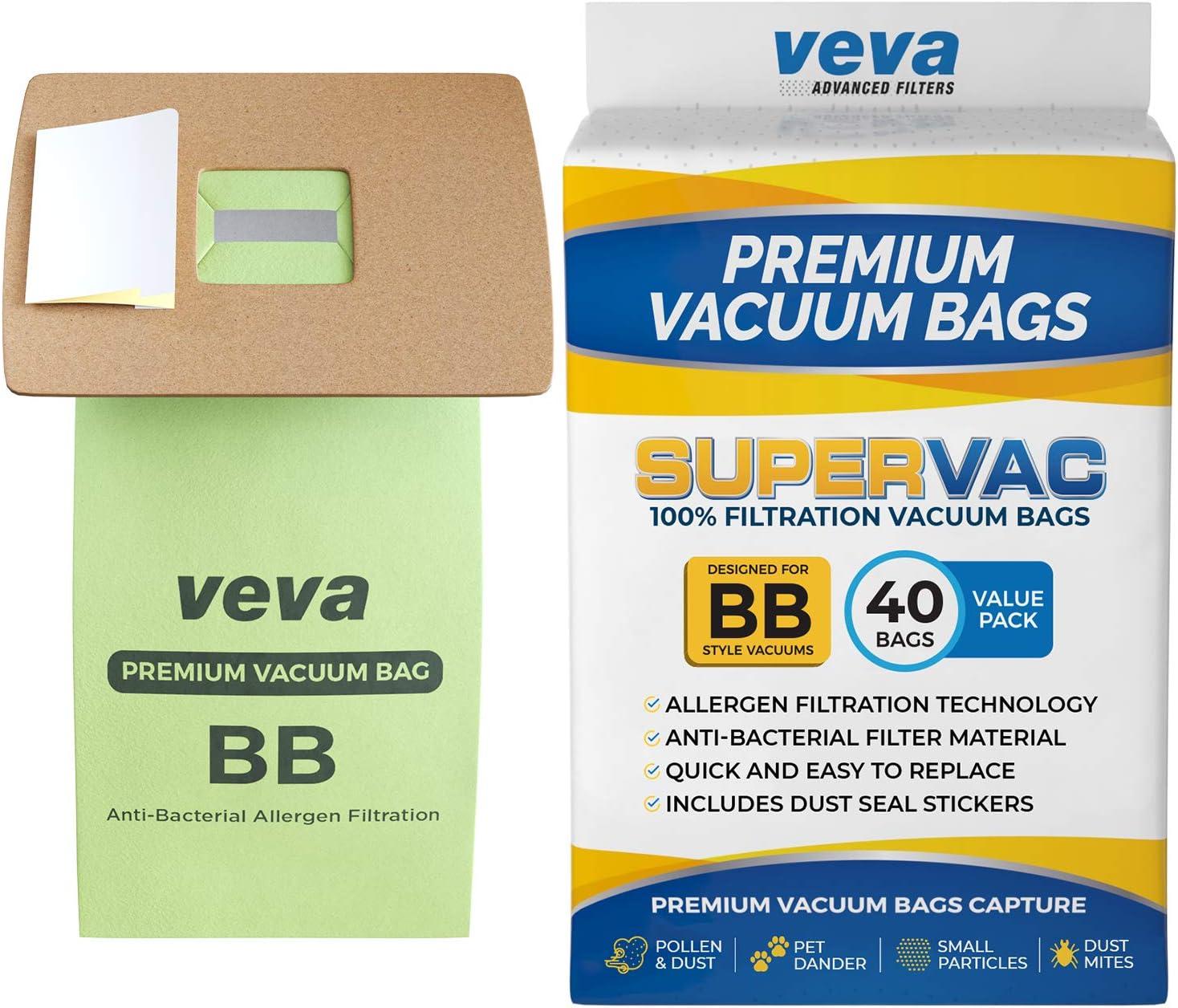 VEVA 40 Pack Premium SuperVac Vacuum Bags Style BB Work with All Handheld Vacuum Models BB180, BB280, BB850, BB870, BB880, BB900, BB1000, BB1100, BB1200